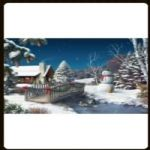 LED CANVAS PICTURE SNOW SCENE DF15864